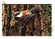Chestnut-backed Chickadee On Tree Trunk Carry-all Pouch