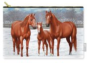 Chestnut Horses In Winter Pasture Carry-all Pouch by Crista Forest