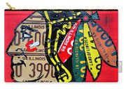 Chicago Blackhawks Hockey Team Vintage Logo Made From Old Recycled Illinois License Plates Red Carry-all Pouch