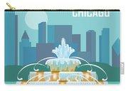 Chicago Illinois Horizontal Skyline - Buckingham Fountain Carry-all Pouch