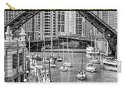 Chicago River Boat Migration In Black And White Carry-all Pouch