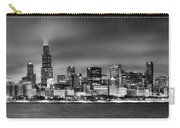 Chicago Skyline At Night Black And White Carry-all Pouch