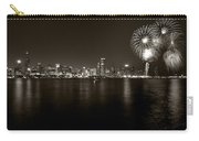 Chicago Skyline Fireworks Bw Carry-all Pouch by Steve Gadomski