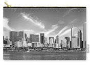 Chicago Skyline Panorama Black And White Carry-all Pouch
