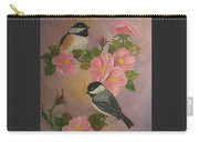 Chickadees And Roses Carry-all Pouch