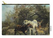 Child And Sheep In The Country Carry-all Pouch