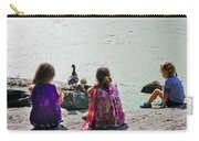 Children At The Pond Triptych Carry-all Pouch