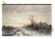 Children Playing In A Winter Landscape Carry-all Pouch