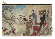 Children Playing In The Snow Under Plum Trees In Bloom Carry-all Pouch