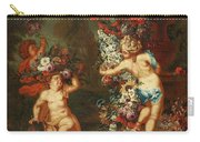 Children Playing With Flowers Carry-all Pouch