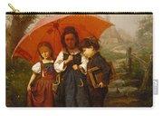 Children Under A Red Umbrella Carry-all Pouch