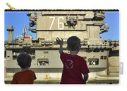 Children Wave As Uss Ronald Reagan Carry-all Pouch by Stocktrek Images