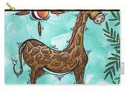 Childrens Nursery Art Original Giraffe Painting Playful By Madart Carry-all Pouch