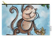 Childrens Whimsical Nursery Art Original Monkey Painting Monkey Buttons By Madart Carry-all Pouch