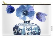 China Blue Vase  With Poppy Flower Carry-all Pouch