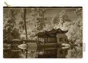 Chinese Botanical Garden In California With Koi Fish In Sepia Tone Carry-all Pouch