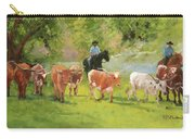Chisholm Trail Texas Longhorn Cattle Drive Oil Painting By Kmcelwaine Carry-all Pouch