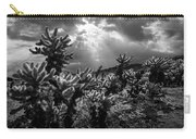 Cholla Cactus Garden Bathed In Sunlight In Black And White Carry-all Pouch