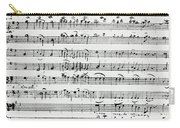 Chorus Of Shepherds, Handwritten Score Of The Opera Ascanio In Alba Carry-all Pouch