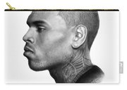 Chris Brown Drawing By Sofia Furniel Carry-all Pouch