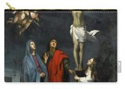 Christ On The Cross With Saint John And Mary Magdalene Carry-all Pouch