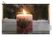Christmas Candle Glowing On Window Sill With Snowy Evergreen Bra Carry-all Pouch