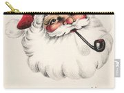Christmas Greetings 1229 - Vintage Christmas Cards - Santa Claus With Pipe Carry-all Pouch