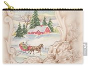 Christmas Greetings 1251 - Vintage Christmas Cards - Snowy Cottage Carry-all Pouch