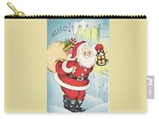 Christmas Illustration 1216 - Vintage Christmas Cards - Santa Claus With Christmas Gifts Carry-all Pouch