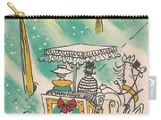 Christmas Illustration 1218 - Vintage Christmas Cards - Horse Drawn Carriage Carry-all Pouch