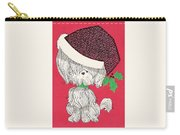 Christmas Illustration 1219 - Vintage Christmas Cards - Little Dog With Chrismtas Hat Carry-all Pouch