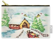 Christmas Illustration 1226 - Vintage Christmas Cards - Horse Drawn Carriage Carry-all Pouch