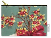 Christmas Illustration 1228 - Vintage Christmas Cards - Holiday Cheer - Flowers Carry-all Pouch