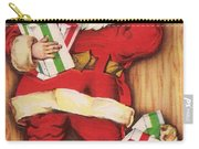 Christmas Illustration 1230 - Vintage Christmas Cards - Santa Claus With Christmas Gifts Carry-all Pouch