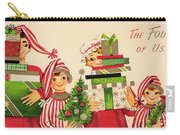 Christmas Illustration 1240 - Vintage Christmas Cards - Family With Christmas Gifts Carry-all Pouch