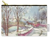 Christmas Illustration 1243 - Vintage Christmas Cards - Horse Drawn Sleigh Carry-all Pouch