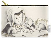 Christmas Illustration 1248 - Vintage Christmas Cards - Infant Jesus On Crib Carry-all Pouch
