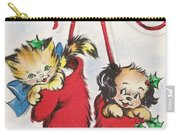 Christmas Illustration 1253 - Vintage Christmas Cards - Little Dog And Kitten Carry-all Pouch