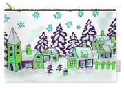 Christmas Picture In Green And Blue Colours Carry-all Pouch