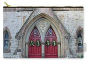 Christmas Wreaths On Red Church Doors Carry-all Pouch