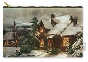 Church And Cottage With Lighted Windows Carry-all Pouch