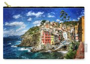 Cinque Terre - Riomaggiore From Above- Vintage Version Carry-all Pouch