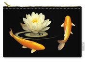 Circle Of Life - Koi Carp With Water Lily Carry-all Pouch by Gill Billington