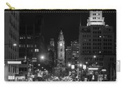 City Hall - Black And White At Night Carry-all Pouch