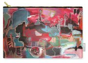 Citysacpe At Twilight  Original Abstract Colorful Landscape Painting For Sale Red Blue  Carry-all Pouch