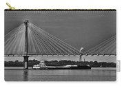 Clark Bridge And Barges In Black And White  Carry-all Pouch