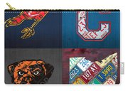 Cleveland Sports Fan Recycled Vintage Ohio License Plate Art Cavaliers Indians Browns And State Map Carry-all Pouch