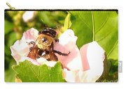 Close Up Bumble Bee Climbing Out Of Hibiscus Flower Carry-all Pouch