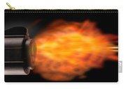 Close-up Of A Gun Firing A Bullet Carry-all Pouch