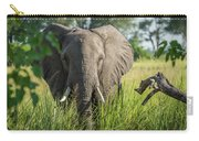 Close-up Of Elephant Behind Bush Facing Camera Carry-all Pouch